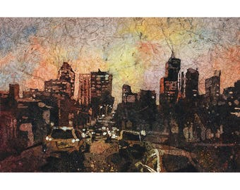 Watercolor batik painting of downtown Raleigh, NC skyline as viewed from the east side.  Raleigh art.  Watercolor Raleigh.