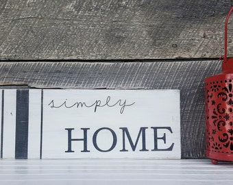 Simply Home Wood Sign | Home Sign | Farmhouse Style Sign | Wood Sign | Farmhouse Style Decor | Painted Wood Sign | Black and White Sign