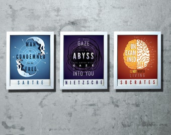 "Sartre / Nietzsche / Socrates / Camus / Kierkegaard /Wittgenstein - Tryptic Typography Quotes -  Set of (3)  8x10"" - Prints 40% off"