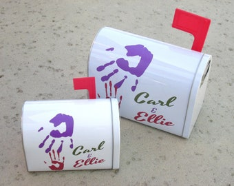 AVAILABLE NOW in TIN -- Up inspired Carl and Ellie Mailbox trinket / jewelry box (Made to Order) in two sizes (Customizable with any names!)