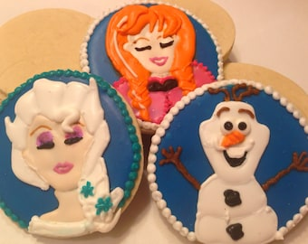 Frozen cookies Elsa, Anna, and Olaf