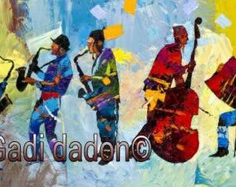 Jewish Musicians Abstract Colorful Art Print Gadi Dadon passover