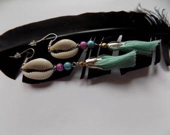 Earring dangle strands/bead and her skirt.