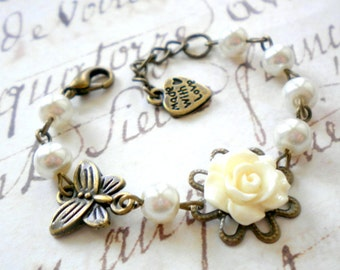 Flower Girl Gift Junior Bridesmaid Bracelet Ivory Baby Girl Pearl Bracelet Little Girl Gift Rose and Pearls Girl Bracelet Gift For Baby Girl