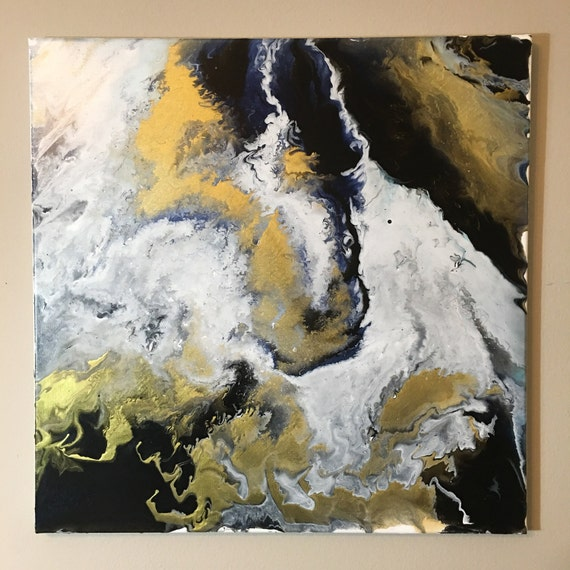 Items similar to 1 20x20 acrylic on canvas fluid art pouring flow art abstract modern gold white black navy blue on etsy