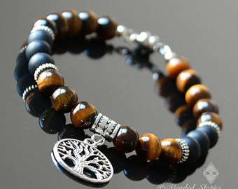 Mens bracelet Crystal jewelry Stackable bracelet Crystal bracelet Tree of Life bracelet Tigers Eye & Onyx healing bracelet Fathers Day gifts