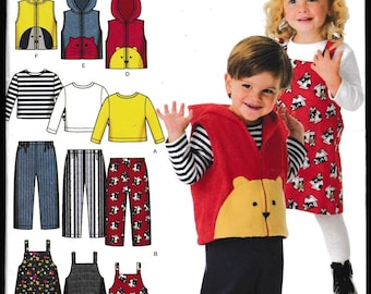 Simplicity 4383 Toddler's Pants, Jumper, Vest and Knit Top Easy To Sew