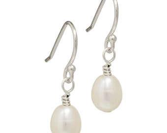 White Freshwater Pearl Earrings, Pearl Drop Earrings, Cream Pearl Earrings, Pearl Silver Earrings, Real Pearl Earrings, Silver Drop Earrings
