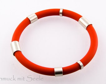 Strap SPORTY, red, silver elements 925, sterling silver 925, rubber, rubber, modern, sporty, new