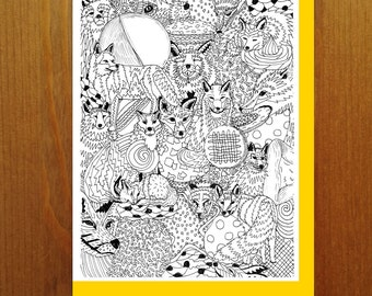Foxes and Cookies - Color Your Own Greeting Card - Adult Coloring Card