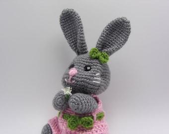 Pretty Bunny - Gray Bunny Rabbit Shelf Sitter or Stuffed Animal Toy - ready to ship