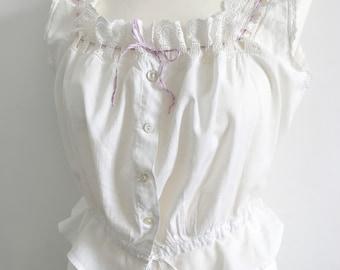 Pretty Antique Lilac Ribbon Trim Corset Cover Blouse