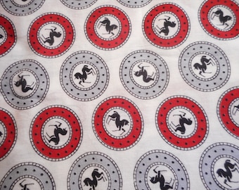 Vintage 1940's, 50's? Mid Century Red Grey Black Horses Cotton Fabric, 2 yards plus