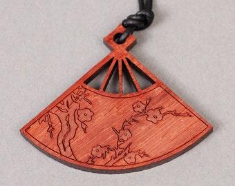 Fan Pendant - Fan Necklace - Asian Pendant - Asian Necklace - Wood Pendant - Wood Necklace