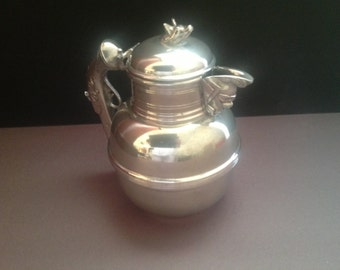 Fine English Pewter Tea Pot with Gun Handle, Masked Man Spout, and Dog Face on Lid