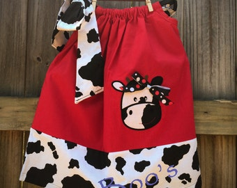 Cow Pillowcase Dress, Size 2, One Shoulder Tie, Cow Print, Pillowcase Dress