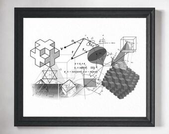 Math Art- Math Poster, Math Teacher Gift, Math Gift, Math Art Print, Math Classroom Decor, Mathematics Equation, Math Print, Math Geek Art