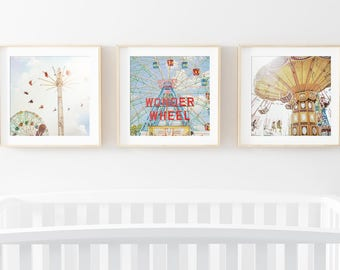 Kids Room Art Prints Set // Wonder Wheel// Nursery Art // Prints for Colorful Kids Room// Carnival Dreams Print Set Kids Room  SET OF 3