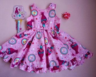 Girls Trolls Dress, Pink Poppy Dress, Trolls Birthday outfit, Branch and Poppy Trolls, Toddler Trolls Dress