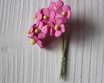 pink mulberry paper wired flowers