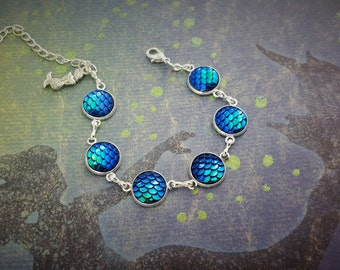Blue/Green Mermaid Bracelet, Mermaid Scales Bracelet, Mermaid Jewellery, Fantasy Bracelet, Mermaid Tail, Mermaid Chain, Mermaid Charm Gift