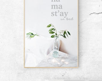 Yoga Poster, Namastay in bed, Happy quote print, Botanical art poster, Instant Download, Printable Wall Decor, Digital Print, Girl Boss