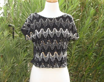 Vintage 1960s – 70s Rhonda Lee Sequin Black Knit Pullover Top, Scoop Neck, Short Cap Sleeves, Size M, Made in the U.S.A.