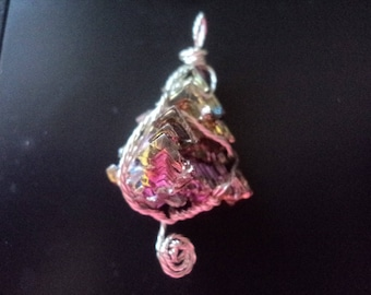 Bismuth Pendant with Silver tone Twist Wire Wrap (1790)