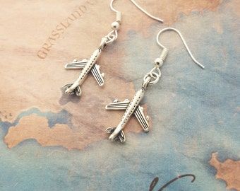 Aeroplane Earrings, Airplane Earrings, Plane Jewellery, Little Earrings, Travel Jewelry, Aircraft Earrings, Traveller Gift, Holiday Jewelry