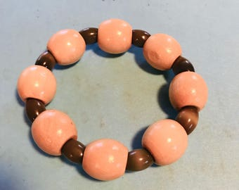 Wood and Glass Bead Bracelet