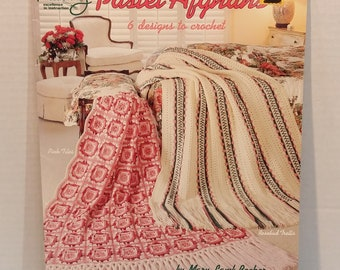 Pastel Afghans Knitting Crochet 6 Patterns Projects by American School Of Needle