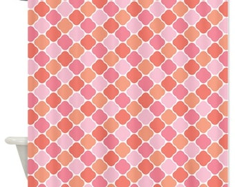 Quatrefoil Shower Curtain-Pinks-Peach-White Pattern-Customize Colors-Standard & Extra Long Sizes-Custom-Moroccan-Preppy Home Decor-Dorm Room