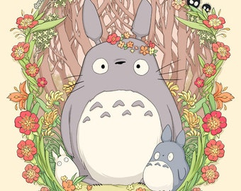 Flower Crown Totoro 18 x 24 Print