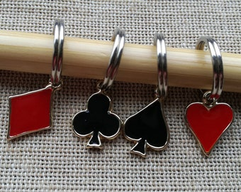 Stitch Markers for Knitting, Set of 4, Playing Card Stitch Markers, Heart, Diamond, Club, Spade, Knitting Notions, Knitting Gift