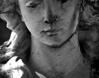 Cemetery Angel Statue Fine Art Photography Home Decor Sad Face Archival Photograph Gift Under 50