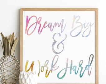 Motivational Print - Inspirational Print - Teen Room Decor - Teenage Girl Room - Home Office Artwork - Cubical Decor - Cute Office Decor