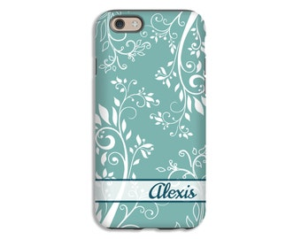 Personalized iPhone 8 case, floral iPhone 8 Plus case, floral flourish iPhone 7/7 Plus case, 6s Plus case, 6s case, iPhone 6 Plus/6 case