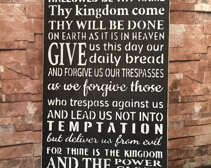 Large Distressed The Lords Prayer Wood Sign