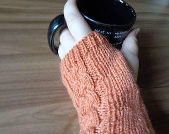 Knitted Handwarmer Pattern- Fingerless Glove Pattern - Instant Download - Braided Cable Glove Pattern