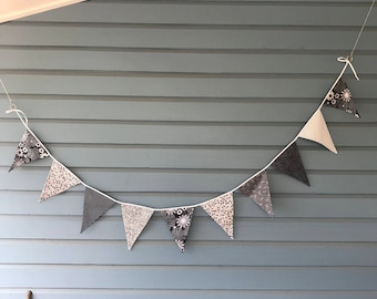 Floral monochrome bunting. Black and white flowery themed bunting