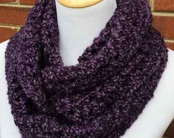 Crochet Infinity Scarf, Bulky Infinity Scarf, Womens Gift, Crochet Purple Scarf, Gift for Her, Handmade Scarf, Chunky Infinity Scarf, Gothic