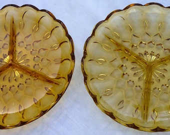 Pair Vintage 1960's Anchor Hocking Amber Glass three section snack/serving dish. Mint Condition