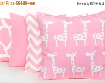 SALE ENDS SOON Pink Throw Pillow Covers, Soft Pink Pillowcases, Animal Print Pillows, Giraffe, Zig Zag, Solid Pink Pillows, Pink Nursery Dec