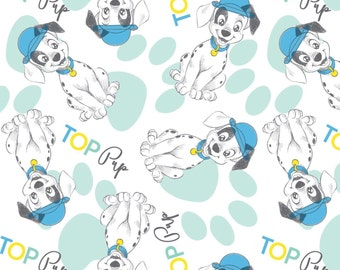 """IN STOCK:  101 Dalmatians Fabric - Fashion Trend Top Pup - Puppies fabric Paw allover  100% cotton Fabric by the yard 36""""x44"""" (SC100)"""