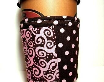 Fabric coffee cozy / cup sleeve / coffee sleeve  - Chocolate Swirl - with Pocket