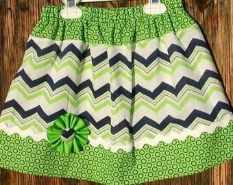 Girls skirt, Twirl Skirt, Infant skirt, toddler skirt, Custom..Green N Navy Chevron N Dots..sizes 0 to 10