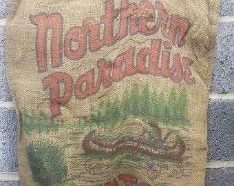 Vintage northern paradise burlap potato bag