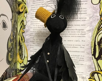 Knitted hook crow   souvenir crow gift crow Handmade crow Knitted crow Raven