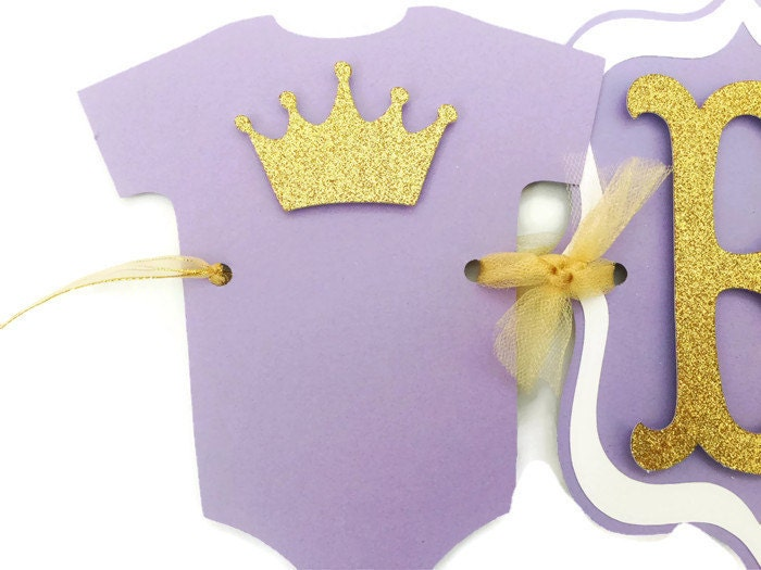 Princess Baby Shower Banner In Lavender And Gold, Purple And Gold Baby  Shower Decorations