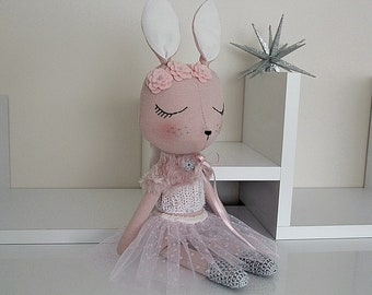 BUNNY FABRIC DOLL - Large - Dusty Blush Pink - Simple and Chic Ballerina Theme - Heirloom Cloth Doll - Limited